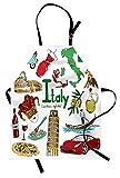 abakuhaus italie tablier, fun coloré croquis style, produit unisexe avec col réglable pour cuisine