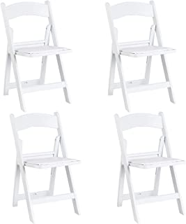 Giantex 4 Pcs Folding Chair Wedding Banquet Ergonomic Stackable Chair with Padded Seat, White
