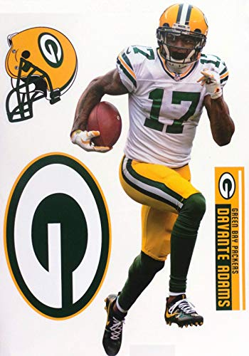 Davante Adams FATHEAD Graphic + GB Packers Logo Set Official NFL Vinyl Wall Graphics 17' INCH