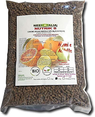 Concime per Agrumi, Limoni, Arance e Acidofile Organico Professionale 6-6-10 +2% magnesio (5Kg) ammesso in Agricoltura Biologica, consigliato da Biocertitalia