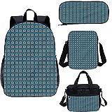 Set da 43,2 cm per adolescenti, set di borse da scuola quadrate geometriche vintage per lavoro, scuola, viaggi, picnic