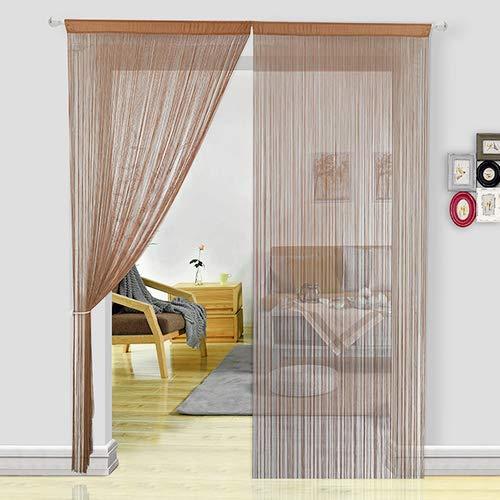 HSYLYM Fadenvorhang Schlafzimmertür, als Insektenvorhang oder Raumteiler verwendbar, Polyester, Coffee, 90x200cm