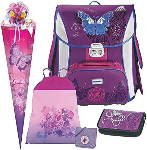 Butterfly - Schmetterling - Leicht-Schulranzen Set Baggymax SIMY Hama 6tlg. mit BRUSTBEUTEL, SCHULTüTE und SCHULTüTENSCHMUCK-Set