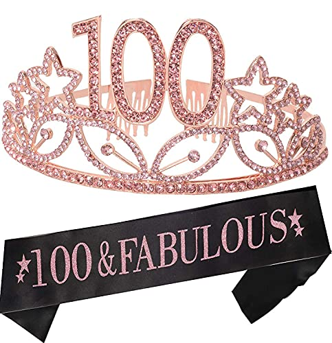 100th Birthday Gifts for Women, 100th Birthday Tiara and Sash, Happy 100th Birthday Party Supplies, 100 Year Loved Black Glitter Satin Sash and Crystal Tiara Crown, 100th Birthday Party Decorations