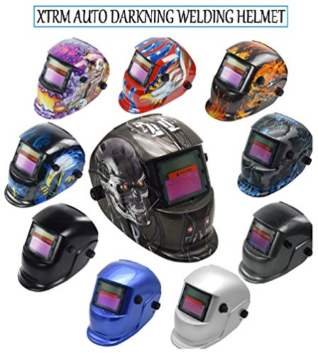 XTRM AUTO DARKNING WELDING HELMET Mask Welders Grinding Function Solar Power + Lens (Blue Eagle)