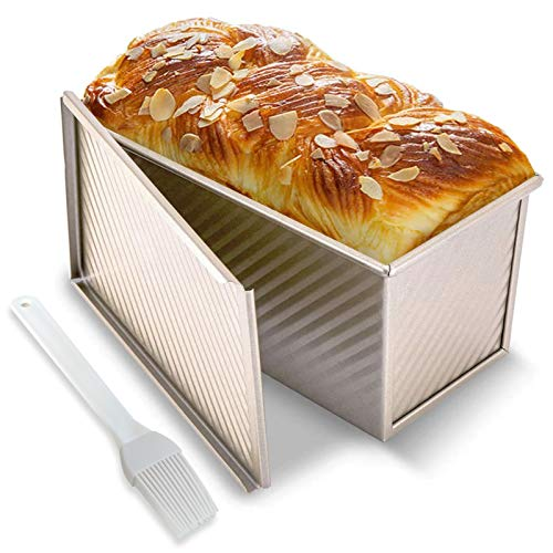 Loaf Pan with Cover, Baking Bread Pan Non-Stick Bread Mold Toast Homemade Bread 0.99Lb Dough Capacity Bakeware with Silicone Pastry Brush(Champagne Gold)