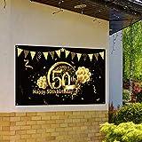 50. Geburtstag Party Dekoration, Extra Große Stoff Schild Poster zum 50. Jahrestag Foto Stand Hintergrund Banner, 50. Geburtstag Party Lieferunge (Schwarz Gold) - 6