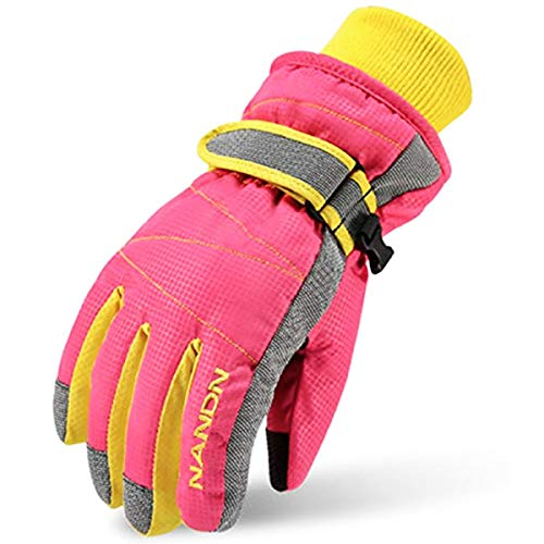 YAPJEB Kids Winter Ski Gloves Warm Snow Snowboard Gloves for Boys Girls 7-14 Years Old (Pink, M (9-14 years old))