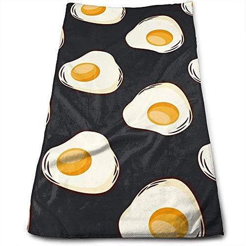 Bert-Collins Towel Nourriture Oeufs au Plat Personnalité Sombre Motif Amusant Serviettes de Visage Fibre Superfine Super Absorbant Serviettes de Gymnastique Douces