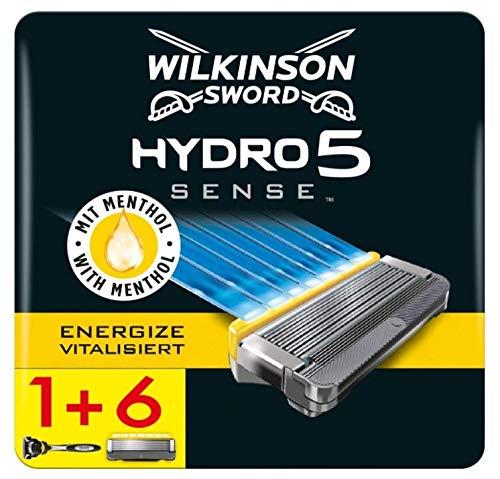 Wilkinson Sword Pack Ffp ECO box Hydro 5 Sense - Kit de maquinilla de afeitar de 5 hojas para hombre + 7 recambios de cuchillas, afeitado manual masculino
