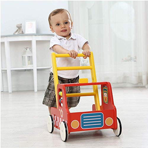 labebe Wooden Stylish Baby Push Walkers, 2-in-1 Use as Push & Pull Toys, Cute Fire Engine Stroller Walker Wagon Toy for Children Toddler 1-3 Years