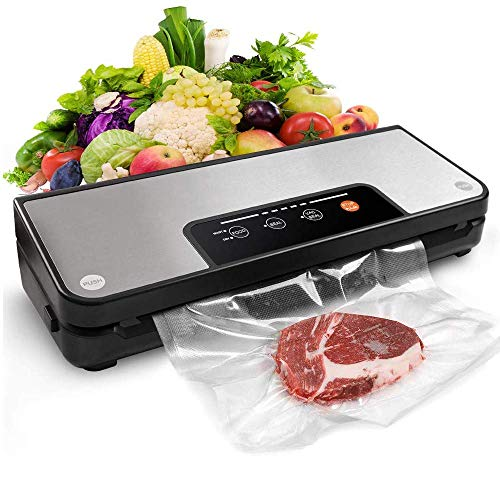 Kitchen Vacuum Sealer Machine, 4 in 1 Automatic Food Saver with Storage Bag Roll, Sous Vide Machine, Dry & Moist Food Modes, Stainless Steel Panel, Le'd Indicator Lights LATT LIV