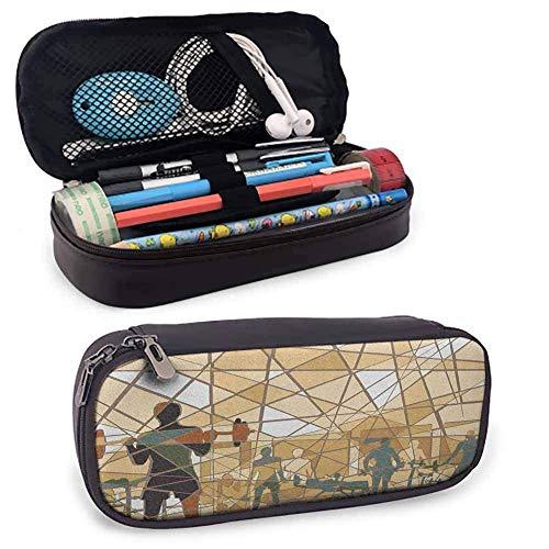 XCNGG Fitness PU Leder kleiner Bleistiftbeutel, Mosaik-Design von Menschen, die in einem Fitnessstudio trainieren Barbells Weightlift Langlebiger Doppelreißverschluss Schiefer Blau Hellbraun Schwarz