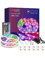 LED-strip-lampor med fjärrkontroll, JESLED LED-lampor för sovrum, RGB-färgbytesbelysning med 44-knapps fjärrkontroll för hem-TV Takfest och dekoration