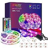 Tiras LED, JESLED 12m(2*6m) Luces LED RGB 5050 con Control Remoto de 44 Botones, 20 Colores 8 Modos de Brillo y 6...