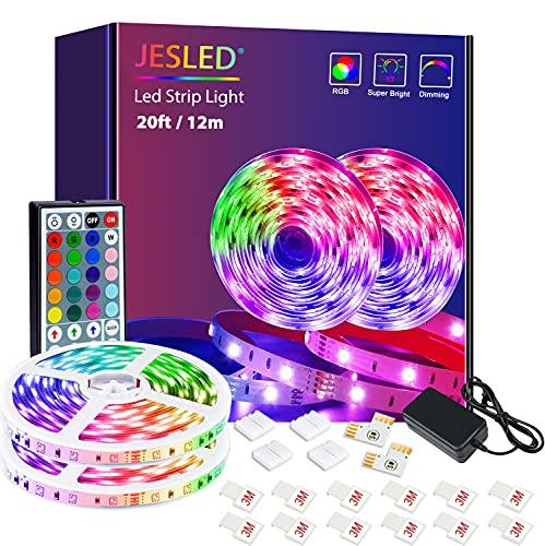 Tiras LED, JESLED 12m(2 * 6m) Luces LED RGB 5050 con Control Remoto de 44 Botones, 20 Colores 8 Modos de Brillo y 6 opciones DIY para la Dormitorio, TV, Decoración de Gabinetes, Fiesta, 24V
