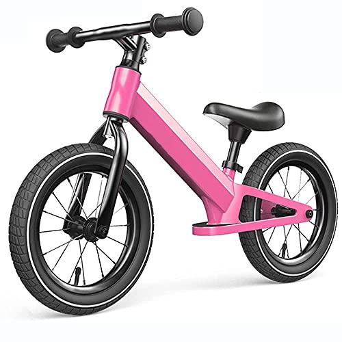 Gymqian Bici de Balance de 12 Pulgadas de Bicicleta de Entrenamiento de Niños Pequeños Livianos para Niños en Edades a 2-6 Años de Altura de Asiento Ajustable con Pedal de Bicicleta Antideslizante pa
