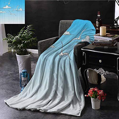 Stoel deken meeuwen rusten op houten pilaren grungy geschetste print met abstracte achtergrond comfortabel zacht materiaal, geven u een geweldige slaap