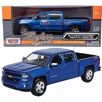 Motormax 2017 Chevrolet Silverado 1500 LT Z71 Crew Cab Pickup Truck 1/27 Scale Diecast Model Vehicle Blue