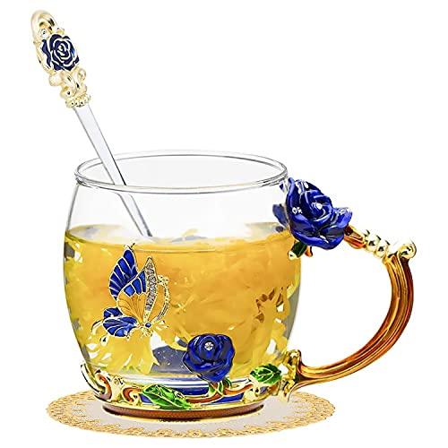 Tazas de té de cristal transparente talladas sin plomo, gran capacidad, resistentes a altas temperaturas, con cuchara, juego de regalo único para cumpleaños, día de la madre (rosa azul, 9 cm)