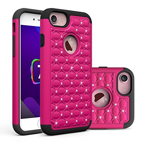 iPhone 7 Case,Berry Accessory(TM) Studded Rhinestone Crystal Bling Hybrid [ Dual Layer ] Armor Case Cover for iPhone 7 With Free Berry logo stand holder (Rose/Black)