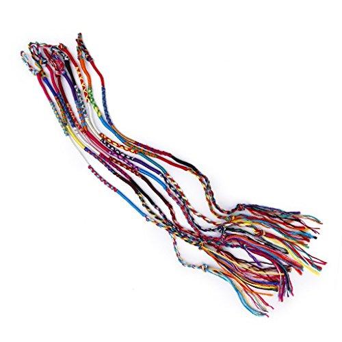 TOOGOO(R) 9 x colorato nappa braccialetti tessuti