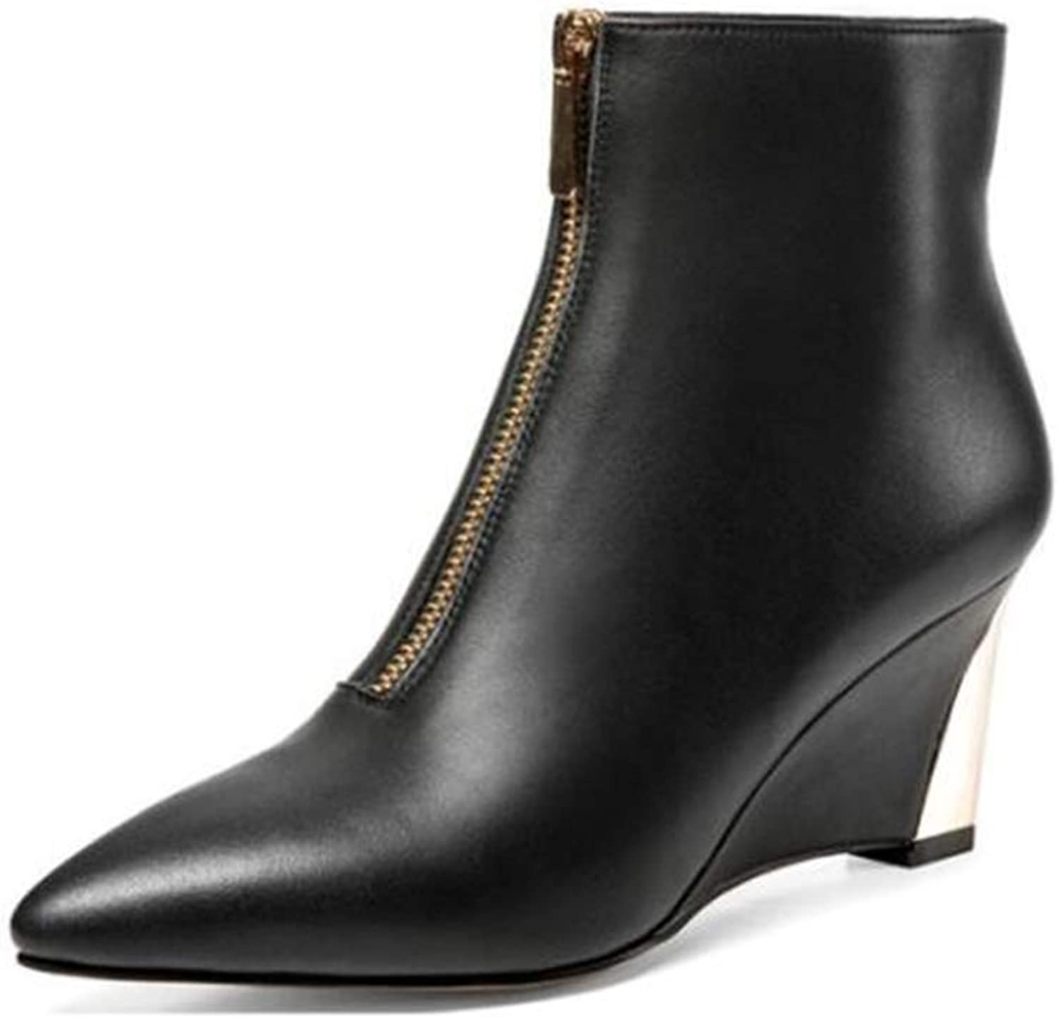 Women's Booties, Pointed Toe Med Heel Ankle Boots Wedge High Heel Front Zipper Fashion Ladies Chelsea Boots (color   Black, Size   39)