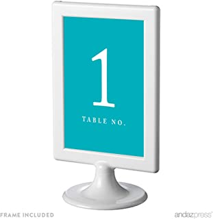 Andaz Press Framed Double-Sided Table Numbers 1-8, Aqua Turquoise, 1-Set, 4x6-inch, Includes Frames