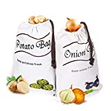 2Packs Potato&Onion Storage Bags,Reusable Farm Product Bags,Washable Fruit and Vegetable Food Storage Canvas Tote,Durable Grocery Shopping Storage Bag with Side Zipped