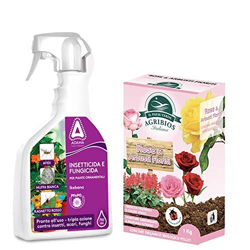 Set Rose Concime Granulare+Spray Insetticida Acaricida Funghicida Sistemico per Rose e Arbusti Fioriti, Piante in Vaso e Ornamentali|Fertilizzante Granulare+Spray Fungicida (Concime+Spray Insetticida)