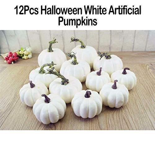 Tracy Bulwer White Künstliche Kürbisse, weiße Deko, dekorative Kürbisse Halloween, Kürbisse, Zierkürbisse und Kürbisse für die Halloween-Dekoration und Herbstdekoration (12)