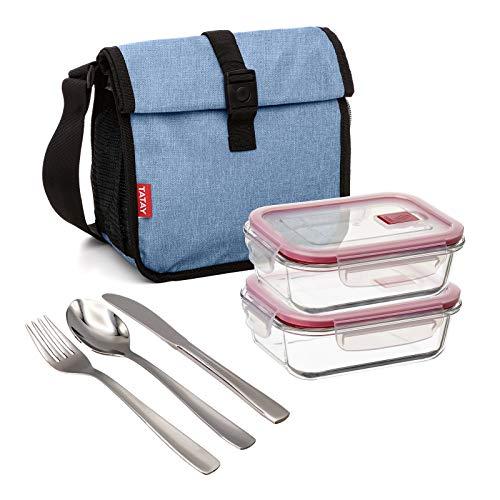 PracticDomus Bolsa Térmica Porta Alimentos Tatay Urban Food Roll&Go Denim Blue con 2 Contenedores Cook&Eat de 0.64L en Vidrio Borosilicato y Cubiertos Basic Niquel-Free