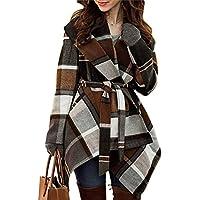 Chicwish Women's Turn Down Shawl Collar Earth Tone Check/Black White Grid/Black / Plum/Cream/ Pink Wool Blend Coat