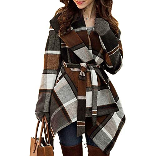 Chicwish Women's Turn Down Shawl Collar Open Front Earth Tone Check Asymmetric Hemline Wool Blend Coat