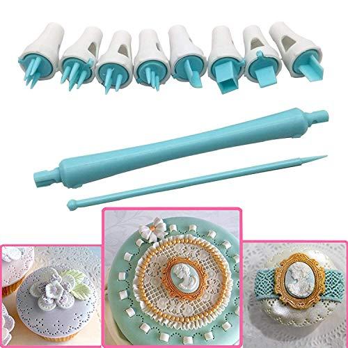 Juego de 9 bolígrafos de encaje tipo flor, de plástico apto para uso alimentario, para galletas o tartas, con un pin. 9pcs Style 1