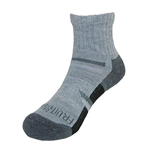 Fruit of the Loom Boy's Ankle Socks (6 Pair Pack), 3-9, Grey