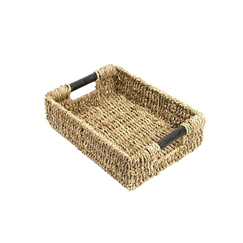 WoodLuv  Seagrass Storage Basket With Handle-Small