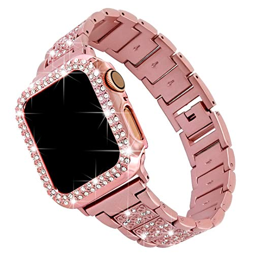 Falandi For Bling Apple Watch Band with Case 44mm iWatch Series 6/SE/5/4,Dressy Diamond Rhinestone Jewelry Metal Smart Watch Replacement Bands Accessories Bracelet Adjustable Wristband,, Pink 44mm
