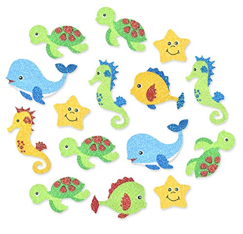 Glittery Decorative Foam Stickers for Crafting, Scrapbooking and More - Sea Life (Seahorses, Turtles, Starfish, Whales) - 15 Piece