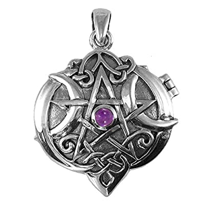 Sterling Silver Amethyst Celtic Knot Heart Pentacle Locket