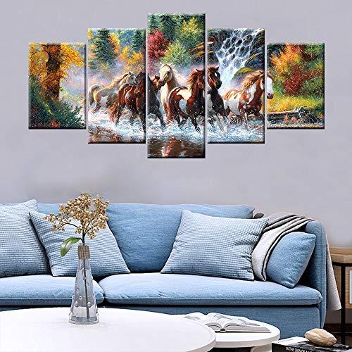 KWzEQ 5 Stück HD-Druck Pferd läuft auf Wasser Modular Space Schlafzimmer Wohnzimmer Moderne Dekoration,Rahmenlose Malerei,30x40cmx2, 30x60cmx2, 30x80cmx1
