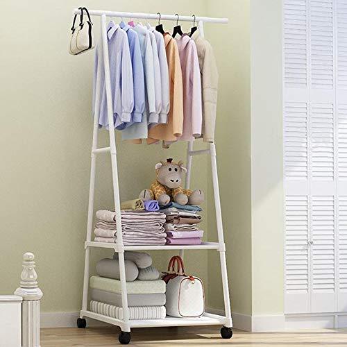 XYBB Armario Dormitorio Rack Piso De Pie Ropa Colgante Estantes Estantes W/Rueda Simple Estilo Dormitorio Muebles 158 * 42 * 55cm Blanco