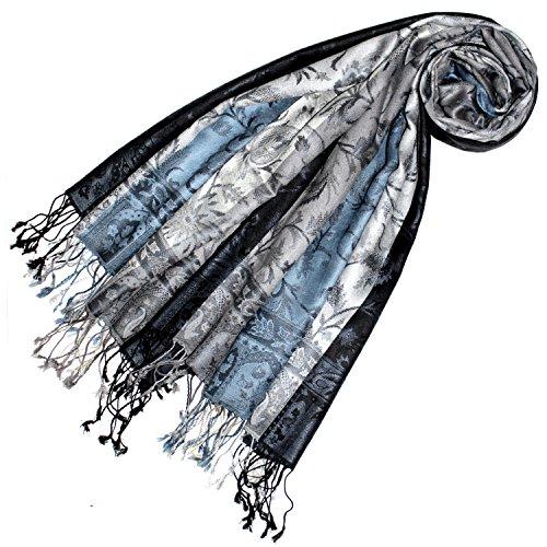 Lorenzo Cana Lorenzo Cana Damen Pashmina Schal Schaltuch gewebt 100% Seide 70 x 190 cm Paisley Seidenschal Seidentuch Blau Grau 7805233