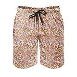 OwlOwlfan Paisley - Pantalones cortos de natación para hombre, impermeables, aptos para la piel, con bolsillos elásticos con cordón para deportes informales y gimnasio
