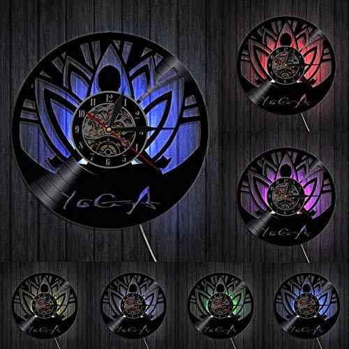mbbvv Reloj de Pared de Estudio de Yoga, meditación Zen, minimalismo de Buda, Alineado, Reloj de Pared con Disco de Vinilo de Yoga Espiritual, diseño Moderno