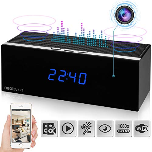 Clock Spy Camera- Wireless Home Hidden Cam - Security Cam with HD 1080P- Night Vision- Speaker- Motion Detection- WiFi-140 View Angle - 3000 mA Battery - 8 IR Led Lights