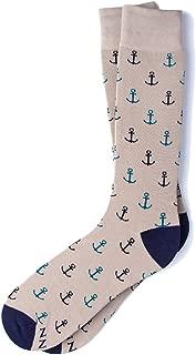 Men's Hipster Designer Nautical Anchors Novelty Crew Dress Socks