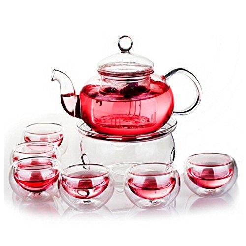Siyaglass Heat Resistant Glass Filter Teapot with a Warm and 6 Tea Cups 800ml / 27oz