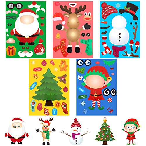 40 Sheets Christmas Make a Face Decorative Stickers Christmas Face Craft Stickers Make Your Own Stickers with Santa Snowman Reindeer Elf Christmas Trees Design for Christmas Party, 5 Styles