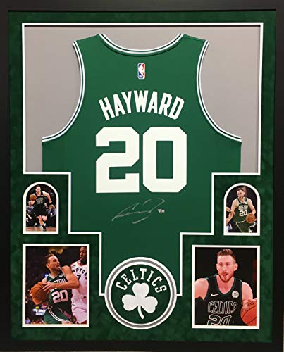 Gordon Hayward Boston Celtics Signed Autograph Licensed Swingman Custom Framed Jersey Green Suede Matted 4 Picture Fanatics Authentic Certified